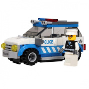 JINPIN Children Kids Toys 91-Piece Police Car Plastic Blocks Set