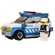 JINPIN Children Kids Toys 91-Piece Police Car Plastic Blocks Set