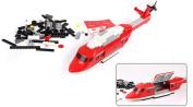 JINPIN Kids Toys 228-Piece Fire Helicopter Plastic Blocks Set Kids Toys