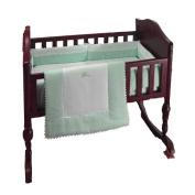 bkb Ric Rac Cradle Bedding, Green, 38cm X 80cm , Green, 46cm X 90cm