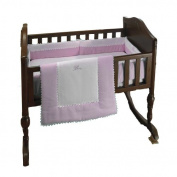 bkb Ric Rac Cradle Bedding, Pink, 46cm X 90cm , Pink, 38cm X 80cm