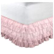 bkb Organza Crib Dust Ruffle, Pink, White