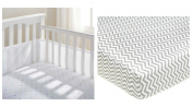 BreathableBaby BreathableMesh Crib Liner, White Mist with 100% Cotton Percale Fitted Crib Sheet, Zigzag Grey