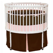 bkb Solid Colour Round Crib Bedding, Pink and Brown/Light Blue, 38cm X 80cm