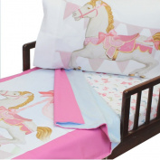 Darling Carousel 4pc Toddler Bedding Set Horses Blanket and Sheet Set