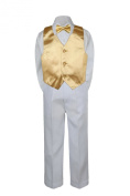 Leadertux 4pc Formal Little Boys Mustard Vest Bow Tie Sets White Pants Suits S-7 (M: