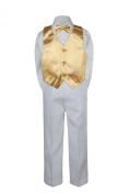 Leadertux 4pc Formal Little Boys Mustard Vest Bow Tie Sets White Pants Suits S-7 (M: