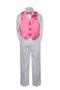 Leadertux 4pc Formal Little Boys Coral REd Vest Bow Tie Set White Pants Suit S-7 (XL:
