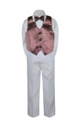 Leadertux 4pc Formal Little Boys Brown Vest Bow Tie Sets White Pants Suits S-7 (S: