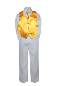 Leadertux 4pc Formal Little Boys Yellow Vest Necktie Sets White Pants Suits S-7 (L: