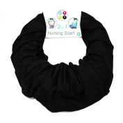Nursing Cover for Breastfeeding and Pumping- Universal Fit for All Sizes - Infinity Scarf turns into Privacy Cover Up - -Solid Colour for Less Attention - Black - Family First