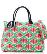 large scallop print quilted tote