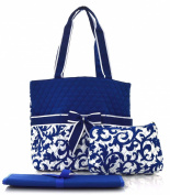 royal blue damask print nappy bag