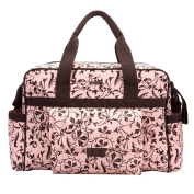Bellotte Collection Tote Nappy Bag, Polyster, Brown Flower