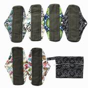 7pcs Set 1pc Mini Wet Bag +6pcs 25cm Regular Charcoal Bamboo Mama Cloth/ Menstrual Pads/ Reusable Sanitary Pads