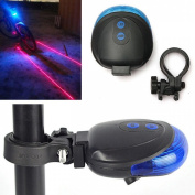 Superbly Popular 5 LED and 2 Laser Bike Light Rear Flashing Safety Lamp Waterproof with 7 Modes