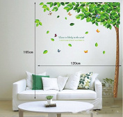 Green Leaves Tree Butterflies Wall Decal Home Sticker Paper Removable Living Dinning Room Bedroom Kitchen Art Picture Murals DIY Stick Girls Boys kids Nursery Baby Playroom Decoration PP-AY886