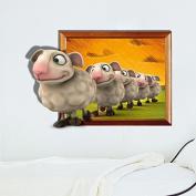 Beddinginn Wonderful Line up the Little Sheep 3d Kids Wall Sticker