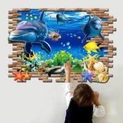 Beddinginn Fantastic Pretty 3d Dolphin Decorative Wall Stickers