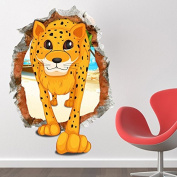 Beddinginn Best Quality Fantastic Cartoon Leopard 3d Kids Wall Sticker