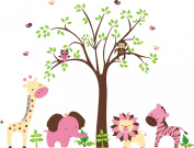 Baby Nursery Kids Children's Wall Decals: Safari Jungle Animals Wildlife Themed 120cm tall X 140cm wide (Inches)