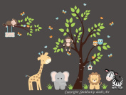 Baby Nursery Children's Wall Decals: Safari Jungle Animals Wildlife Themed 220cm X 330cm (Inches): Repositionable Removable Reusable Wall Art. vinyl wall decals