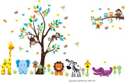 Baby Nursery Kids Children's Wall Decals: Safari Jungle Animals Wildlife Themed 220cm tall X 360cm wide (Inches)