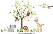 Baby Nursery Kids Children's Wall Decals: Safari Jungle Animals Wildlife Themed 210cm tall X 290cm wide (Inches)