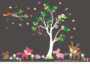 Baby Nursery Children's Wall Decals: Nature Forest Woodlands Animals Wildlife Themed 220cm X 330cm (Inches): Repositionable Removable Reusable Wall Art. vinyl wall decals