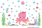 Baby Nursery Kids Children's Wall Decals: Sea Ocean Marine Life Animals Wildlife Themed 90cm tall X 130cm wide (Inches)