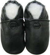 Carozoo baby boy soft sole leather infant toddler kids shoes Solid Black