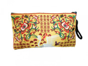 Khum Wieng Kham Women's Flamingo embroidered Clutch Bag w/ Yellow Fabric