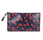 Gucci Ladies Blue Leather Large Heartbeat Pouch Clutch Bag 338815 4179