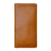 ZLYC Unisex Handmade Vegetable Tanned Leather Classic Simple Long Bifold Wallet