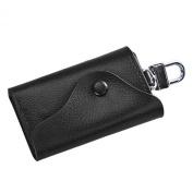 Car Key Chain Holder, Sandistore Men Leather Wallet Car Key Chain Holder 6 Ring Pouch Case