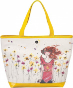 41cm Yellow and Cream Floral Large Canvas Tote Bag