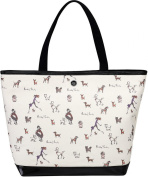 41cm Black and Cream Dog Large Canvas Tote Bag