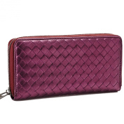 Mantos Eternity 100% Genuine Leather Woven Clutch Organiser Purse Case Handbag Long Evening Zippered Around Wallet for Women