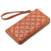 Mantos Eternity 100% Genuine Leather Luxury Ling Fashion Long Clutch Purse Card Case Credit Holder Organiser Chequered Wristlet Wallet for Women
