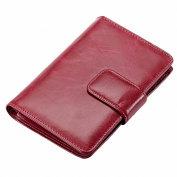 Mantos Eternity 100% Women's New Genuine Leather Waxy Leather Simple Style Purse Card Case Credit Holder Organiser Double Use Wallet