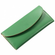 Mantos Eternity Women's Genuine Leather Purse Tri-fold Simple Long Wallet Card Cases