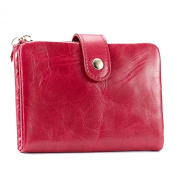 Mantos Eternity 100% Genuine Leather Luxury Wax Cowhide Vintage Clutch Purse Card Case Credit Holder Organiser Double Use Wallet for Women