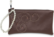 Brown Studded Leather Wristlet