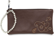 Brown Paisley Leather Wristlet