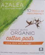 Azalea - Regular Ultra Thin Cotton Pads with Wings - Made with Organic Cotton - 10 Count