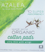 Azalea - Super Ultra Thin Cotton Pads with Wings - Made with Organic Cotton - 10 Count