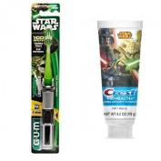 Gum Star Wars YODA Powered Light Up Lightsaber Soft Toothbrush + Crest Pro-Health Disney Star Wars Kids Minty Breeze Toothpaste, 120ml