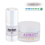 Facial Hair, Body Hair, Bikini Hair, and Legs Hair Growth Inhibitor Cream Adroit (30ml) and Dark Circles Under Eyes Anti Ageing Eye Serum Illumizone (15ml) Skin Care Set By Omiera Labs