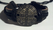 Bronze Tone Saint Benedict Leather Bracelet Adjustable Fit