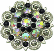 Springfield Leather Company's 2.5cm - 1.3cm Crystal AB Round Berry Concho, w/ Black Crystal Accents